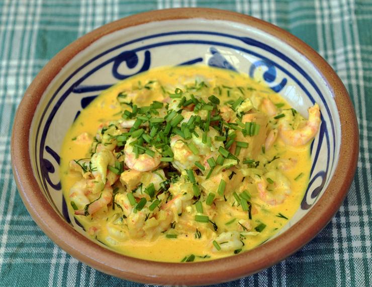 Lax- och räkgryta med curry