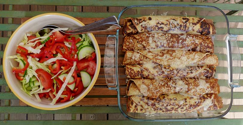 Crêpes med skinka, champinjoner och ost