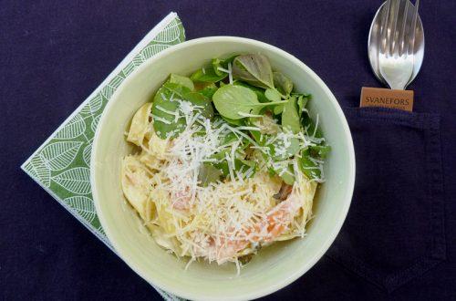 Tagliatelle med lax oxh wasabi